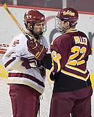 Anthony Aiello, Adam Miller - The Boston College Eagles and Ferris State Bulldogs tied at 3 in the opening game of the Denver Cup on Friday, December 30, 2005, at Magness Arena in Denver, Colorado.  Boston College won the shootout to determine which team would advance to the Final.