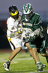 Placentia, CA 05/14/10 - Dakota Randall (MC # 10) and Sean Feeney (Foothill # 47) in action during the Mira Costa vs Foothill boys lacrosse game for the 2010 Los Angeles / Orange County CIF Championship.