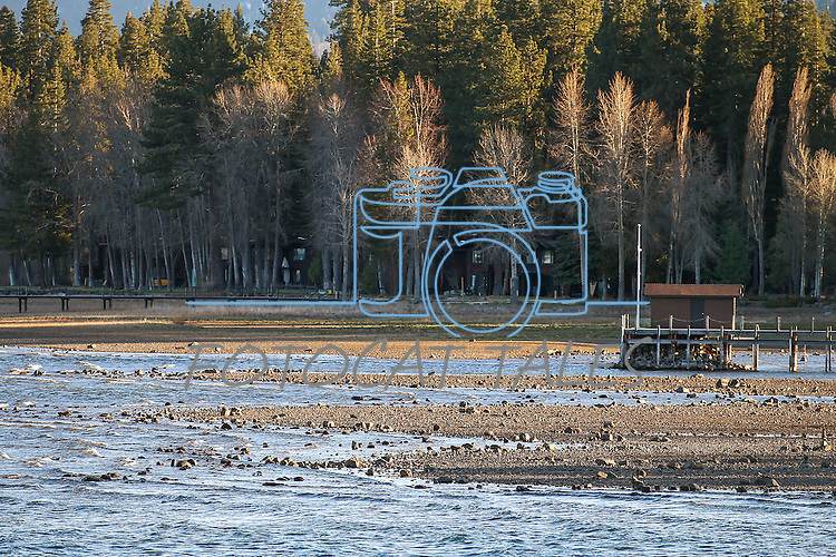Low water levels at Lake Tahoe, seen from Tahoe City, Ca., on Wednesday, April 15, 2015.<br /> Photo by Cathleen Allison