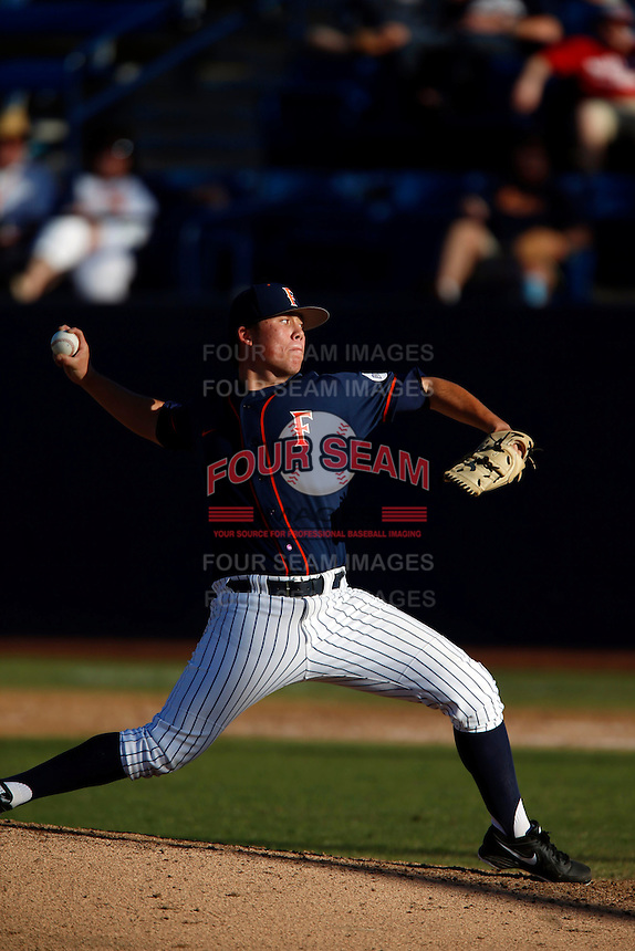 Kyle Murray #41 of the Cal State Fullerton Titans pitches against the Nebraska Cornhuskers at Goodwin Field on February 16, 2013 in Fullerton, California. Cal State Fullerton defeated Nebraska 10-5. (Larry Goren/Four Seam Images)