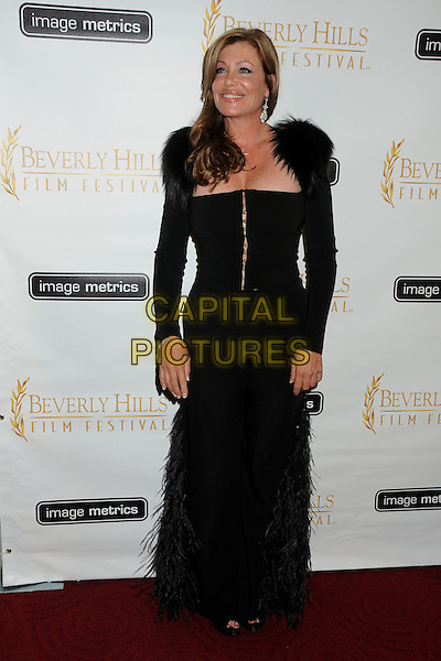 Kelly LeBrock.12th Annual Beverly Hills Film Festival Opening Night held at the AMPAS Samuel Goldwyn Theater, Beverly Hills, California, USA..April 25th, 2012.full length black fur corset dress.CAP/ADM/BP.©Byron Purvis/AdMedia/Capital Pictures.