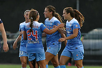 Piscataway, NJ - Saturday Aug. 27, 2016: Stephanie McCaffrey celebrates scoring, Vanessa DiBernardo, Sofia Huerta, Danielle Colaprico during a regular season National Women's Soccer League (NWSL) match between Sky Blue FC and the Chicago Red Stars at Yurcak Field.