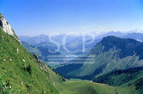 Switzerland. Roche de Naye with roads and tracks winding across the mountainside.