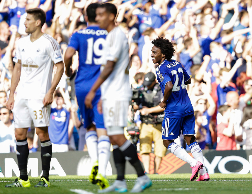 Chelsea's Willian celebrates scoring his sides second goal <br /> <br /> Photographer Craig Mercer/CameraSport<br /> <br /> Football - Barclays Premiership - Chelsea v Swansea City - Saturday 8th August 2015 - Stamford Bridge - London<br /> <br /> &copy; CameraSport - 43 Linden Ave. Countesthorpe. Leicester. England. LE8 5PG - Tel: +44 (0) 116 277 4147 - admin@camerasport.com - www.camerasport.com