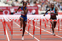 Kendra Harrison of USA and Bridgette Owens of USA compete in the womenís 100 metres hurdles during the Muller Anniversary Games at The London Stadium on 9th July 2017