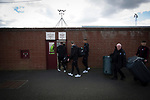 Arbroath 0 Edinburgh City 1, 15/03/2017. Gayfield Park, SPFL League 2. Edinburgh City players and backroom staff arrive at Gayfield Park for the away fixture against Arbroath. The newly-promoted side from the Capital were looking to secure their place in SPFL League 2 after promotion from the Lowland League the previous season. They won the match 1-0 with an injury time goal watched by 775 spectators to keep them 4 points clear of bottom spot with three further games to play. Photo by Colin McPherson.