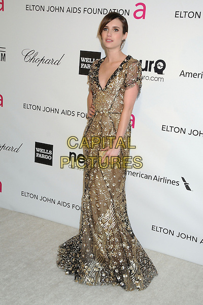 Emma Roberts.21st Annual Elton John Academy Awards Viewing Party held at West Hollywood Park, West Hollywood, California, USA..February 24th, 2013.oscars full length gold black sequined sequined dress sheer clutch bag.CAP/ADM/BP.©Byron Purvis/AdMedia/Capital Pictures.