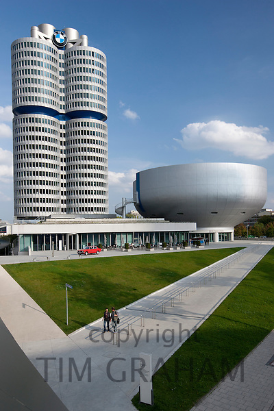 Modern architecture at the BMW Headquarters, Museum and Factory in Munich, Bavaria, Germany