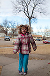 "Kendrick Brinson.LUCEO..Sloan Olson, 3, plays outside her family's apartment in January in oil boom-town Williston, North Dakota. Her grandmother Peggy Adrin said the town has ""really changed a lot"" since she first moved there 30 years ago. ""When we first moved here, there was nothing,"" she said. Williston, North Dakota is currently experiencing an influx of people relocating there for the town's third oil boom...Model Released: Yes.Assigning Editor: Michael Wichita."