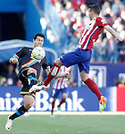 Atletico de Madrid's Lucas Hernandez (r) and Rayo Vallecano's Miku during La Liga match. April 30,2016. (ALTERPHOTOS/Acero)