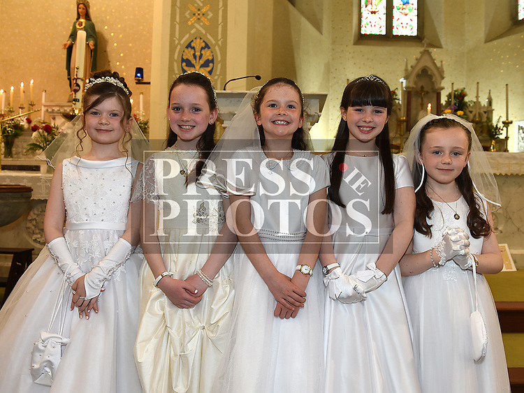 Layla Neary, Maria Dardis, Lily O'Callaghan, Charlotte McKeown and Holly Matthews from Cushinstown who received first holy communion in St. Cianan's church Duleek.  Photo:Colin Bell/pressphotos.ie