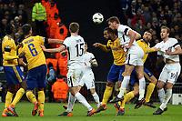 Jan Vertonghen of Tottenham Hotspur gets in a header during Tottenham Hotspur vs Juventus, UEFA Champions League Football at Wembley Stadium on 7th March 2018