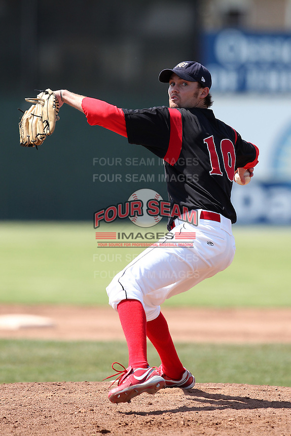 Batavia Muckdogs pitcher Todd McInnis #10 during a game against the Auburn Doubledays at Dwyer Stadium on June 19, 2011 in Batavia, New York.  Auburn defeated Batavia 6-4.  (Mike Janes/Four Seam Images)