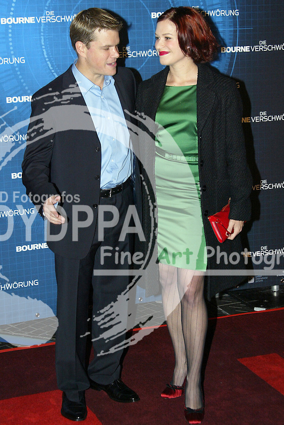 "Actors Matt Damon and Franka Potente attends the Germany Premiere of ""Die Bourne Verschwörung / The Bourne Supremacy"" at CineStar am Potsdamer Platz, Berlin"