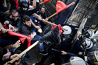 Teachers protesting have clashed with riot police in Athens