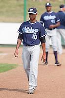 Sergio Alcantara (10) of the Hillsboro Hops prior to a game against the Everett Aquasox at Everett Memorial Stadium in Everett, Washington on July 5, 2015.  Hillsboro defeated Everett 11-4. (Ronnie Allen/Four Seam Images)