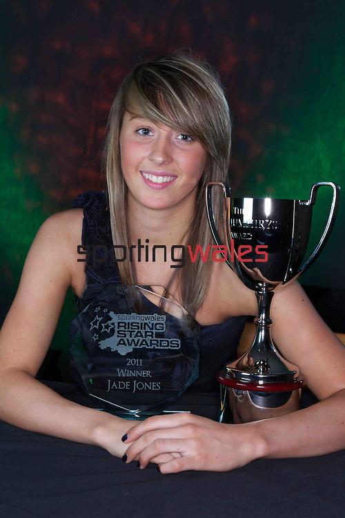 Welsh Taekwondo star Jade Jones winner of the Sportingwales Rising Star award with her trophy presented to her in Cardiff...24.06.11.©Steve Pope