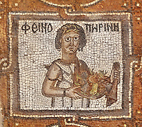 Mosaic of male human figure holding fruits, identified by Greek inscriptions, Byzantine church, Petra, Ma'an, Jordan. Petra church was rebuilt in 450 AD over Nabatean and Roman ruins and the mosaics date from the 6th century. This figure is from the Southern Aisle. Petra was the capital and royal city of the Nabateans, Arabic desert nomads. Picture by Manuel Cohen