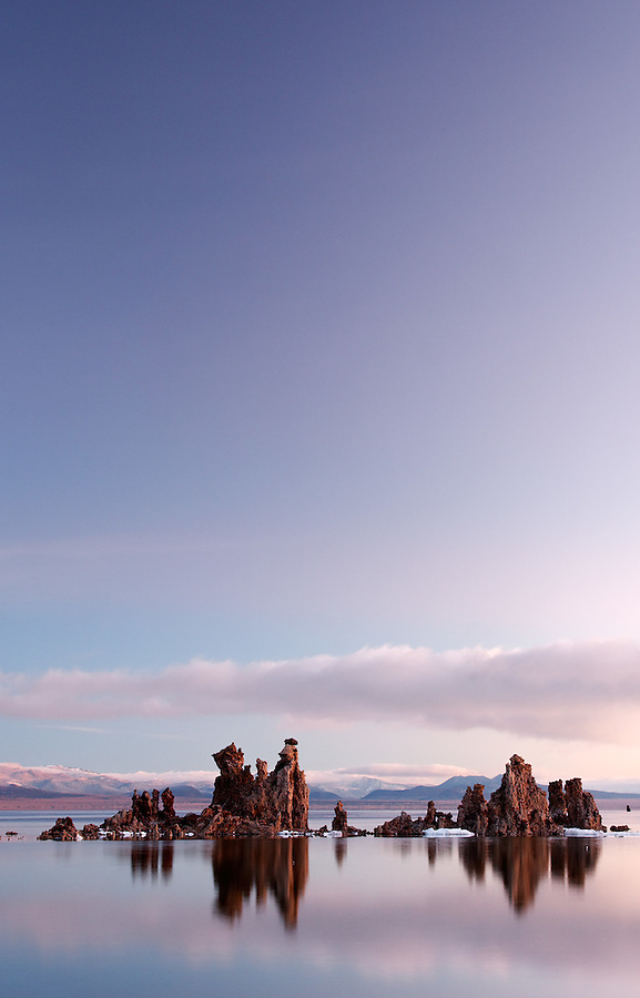 Mono Lake tufta rock formations under clear morning sky, South Tufta, eastern Sierras, Mono Basin National Forest Scenic Area, near Lee Vining, California, USA