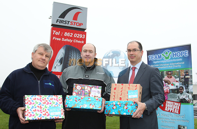 At the Launch of Team Hop Drop off centres, Philip Denner cordinator team hope, Danny Shine Fast Fit First Stop and Colm Cunningham Bridgestone..Picture: Fran Caffrey/www.newsfile.ie.