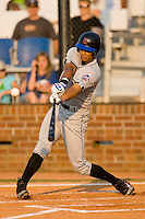 Rafael Fernandez (3) of the Kingsport Mets connects for an opposite field double versus the Johnson City Cardinals at Howard Johnson Field in Johnson City, TN, Thursday July 3, 2008.