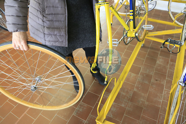 Vintage Tommasini from the 1930s with quick release system on display in the showroom at the Tommasini factory based in Grosseto, Tuscany, Italy 6th March 2017.<br /> Picture: Eoin Clarke | Newsfile<br /> <br /> <br /> All photos usage must carry mandatory copyright credit (&copy; Newsfile | Eoin Clarke)