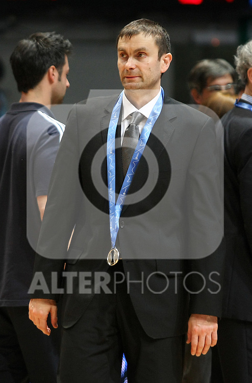 Alba Berlin's coach Luka Pavicevic after Eurocup Basketball Final match. April 18, 2010. (ALTERPHOTOS/Acero)