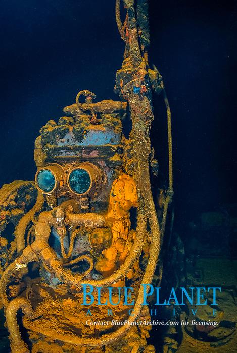 Compressor nicknamed 'R2D2' in the engine room of the Fujikawa Maru in Truk Lagoon, Operation Hailstone, Wreck, WWII, Japanese shipwreck, Chuuk, Micronesia, Truk, Chuuk Lagoon, Pacific Ocean,