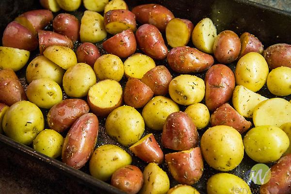 Potatoes prepared for roasting.