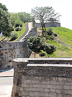 Mauer beim Nordtor Hwaseomun der Festung von Suwon, Provinz Gyeonggi-do, Südkorea, Asien, Unesco-Weltkulturerbe<br /> wall near northgate Hwaseomun of fortress Hwaseong, Suwon, Province Gyeonggi-do, South Korea Asia, UNESCO World-heritage