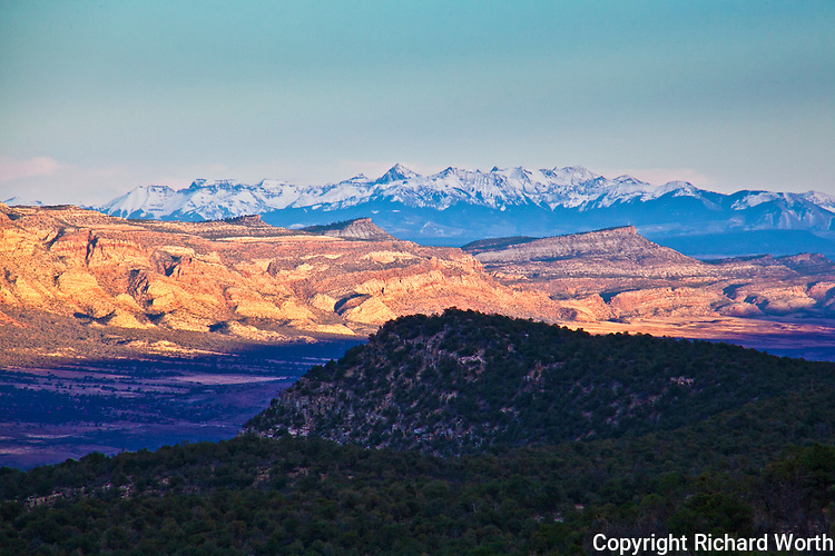 The distant San Juan Mountains stand above Paradox Valley, Colorado.