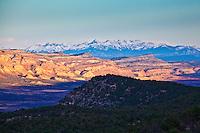 The distant San Juan Mountains stand above Paradox Valley, Colorado.