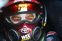 Apr. 13, 2012; Concord, NC, USA: NHRA funny car driver Cruz Pedregon during qualifying for the Four Wide Nationals at zMax Dragway. Mandatory Credit: Mark J. Rebilas-