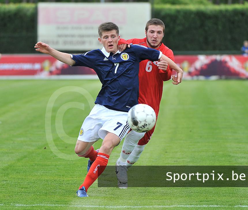 Scotland U19 - Georgia U19 : Matthew Kennedy (7) and Daviti Ubilava (6).foto DAVID CATRY / Nikonpro.be