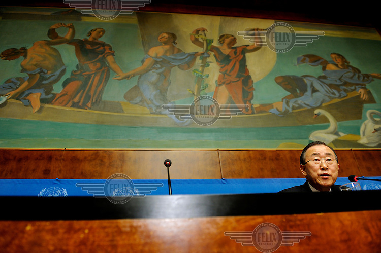 Ban Ki-Moon, Secretary General of the United Nations during a press conference at the United Nations in Geneva (UNOG).