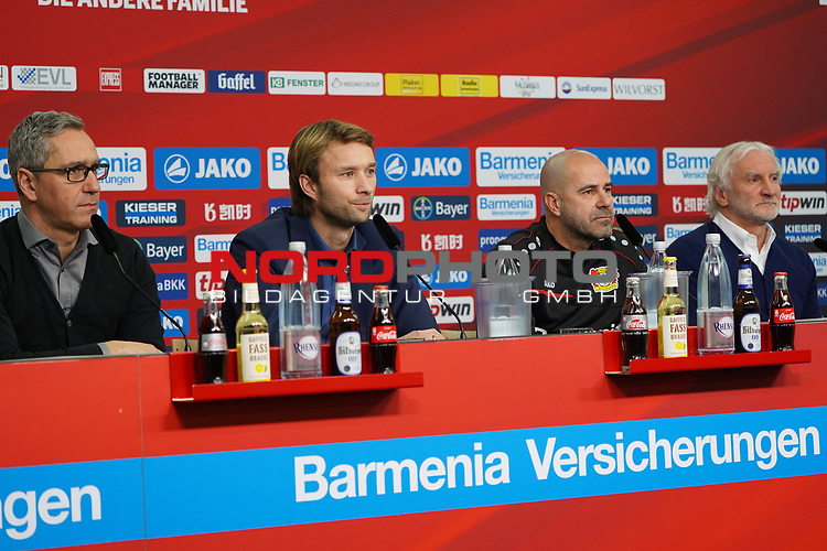 04.01.2019, BayArena, Leverkusen, GER, 1. FBL,  Bayer 04 Leverkusen PK Trainerwechsel,<br />  <br /> DFL regulations prohibit any use of photographs as image sequences and/or quasi-video<br /> <br /> im Bild / picture shows: <br /> erste Pressekonferenz von Peter Bosz Trainer / Headcoach (Bayer 04 Leverkusen), 2. v.r, li Dirk Mesch Pressesprecher (Bayer 04 Leverkusen),  SIMON ROLFES Direktor Sport (Bayer 04 Leverkusen),  ganz re Rudi V&ouml;ller/ Voeller Geschaeftsfuehrer Sport (Bayer 04 Leverkusen), <br /> <br /> Foto &copy; nordphoto / Meuter