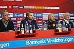 04.01.2019, BayArena, Leverkusen, GER, 1. FBL,  Bayer 04 Leverkusen PK Trainerwechsel,<br />  <br /> DFL regulations prohibit any use of photographs as image sequences and/or quasi-video<br /> <br /> im Bild / picture shows: <br /> erste Pressekonferenz von Peter Bosz Trainer / Headcoach (Bayer 04 Leverkusen), 2. v.r, li Dirk Mesch Pressesprecher (Bayer 04 Leverkusen),  SIMON ROLFES Direktor Sport (Bayer 04 Leverkusen),  ganz re Rudi V&ouml;ller/ Voeller Geschaeftsfuehrer Sport (Bayer 04 Leverkusen), <br /> <br /> Foto &copy; nordphoto / Meuter
