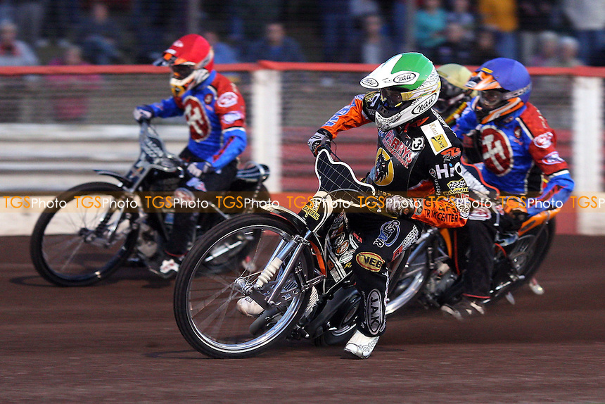 Heat 3: Iversen (green), Bridger (red) , Nieminen (blue), Howe - Lakeside Hammers vs Wolverhampton Wolves - Elite League Speedway at Arena Essex, Purfleet - 22/08/08 - MANDATORY CREDIT: Gavin Ellis/TGSPHOTO - Self billing applies where appropriate - 0845 094 6026 - contact@tgsphoto.co.uk - NO UNPAID USE.
