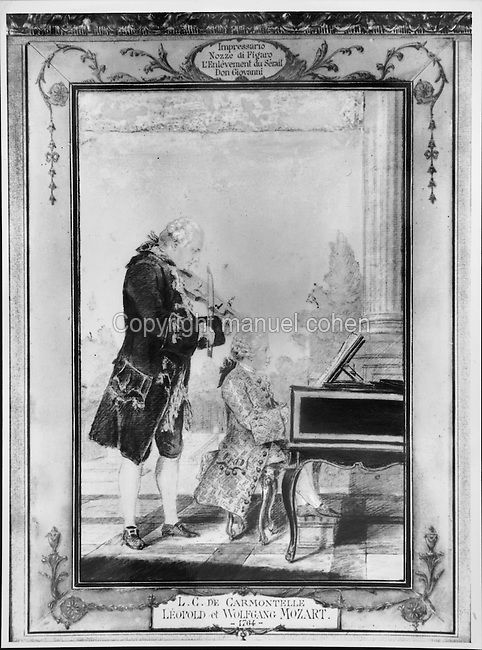 Leopold and Wolfgang Mozart, playing the violin and the piano, watercolour painting, 1764, by Louis de Carmontelle, 1717-1806. Copyright © Collection Particuliere Tropmi / Manuel Cohen