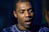 July 12 2002, Montreal, Quebec, Canada<br /> <br /> FEMI KUTI gives a television interview before he  plays the Spectrum, in Montreal, Canada, July 12, 2002 during the Nuits d'afrique Festival.<br /> <br /> The princely son of indomitable Fela is now an Afrobeat king in his own right. Traditional Yoruba rhythms and melodies are married to funk and jazz, soul, salsa and hip hop. Femi's latest release is aptly titled Fight To Win.<br /> <br /> Mandatory Credit: Photo by Pierre Roussel- Images Distribution. (©) Copyright 2002 by Pierre Roussel <br /> <br /> NOTE : <br />  Nikon D-1 jpeg opened with Qimage icc profile, saved in Adobe 1998 RGB<br /> .Uncompressed  Uncropped  Original  size  file availble on request.