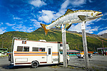 Lonesome Fish Statue and old RV, Valdez, Southcentral Alaska, Autumn.