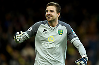1st December 2019; Carrow Road, Norwich, Norfolk, England, English Premier League Football, Norwich versus Arsenal; Tim Krul of Norwich City celebrates the goal by Todd Cantwell for 2-1 - Strictly Editorial Use Only. No use with unauthorized audio, video, data, fixture lists, club/league logos or 'live' services. Online in-match use limited to 120 images, no video emulation. No use in betting, games or single club/league/player publications