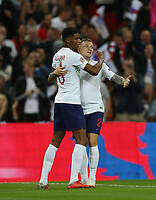 England's Marcus Rashford celebrates with Kieran Trippier after scoring his side's first goal<br /> <br /> Photographer Rob Newell/CameraSport<br /> <br /> UEFA Nations League - League A - Group 4 - England v Spain - Saturday September 8th 2018 - Wembley Stadium - London<br /> <br /> World Copyright &copy; 2018 CameraSport. All rights reserved. 43 Linden Ave. Countesthorpe. Leicester. England. LE8 5PG - Tel: +44 (0) 116 277 4147 - admin@camerasport.com - www.camerasport.com