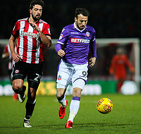Bolton Wanderers' Adam Le Fondre gets away from Brentford's Yoann Barbet<br /> <br /> Photographer Alex Dodd/CameraSport<br /> <br /> The EFL Sky Bet Championship - Brentford v Bolton Wanderers - Saturday 13th January 2018 - Griffin Park - Brentford<br /> <br /> World Copyright &copy; 2018 CameraSport. All rights reserved. 43 Linden Ave. Countesthorpe. Leicester. England. LE8 5PG - Tel: +44 (0) 116 277 4147 - admin@camerasport.com - www.camerasport.com