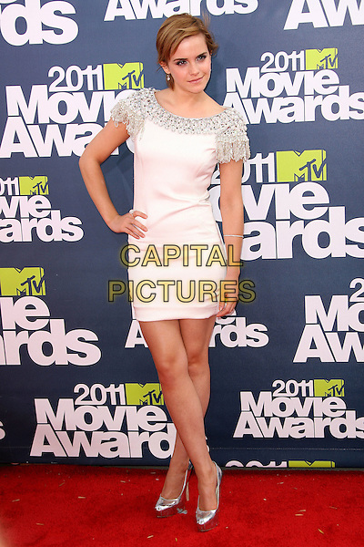 Emma Watson.2011 MTV Movie Awards - Arrivals held at Gibson Amphitheatre, Universal City, California, USA..June 5th, 2011.full length white dress silver embellished beads beaded tassels fringed shoulders shoes hand on hip    .CAP/ADM.©AdMedia/Capital Pictures.