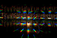 Christmas lights refracted through an optical device shine at Hoover Gardens in Westerville, OH.