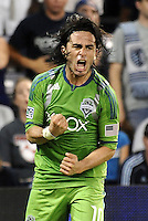 Mauro Rosales (10) midfielder Seattle Sounders celebrates his game tieing goal... Sporting Kansas City were defeated 1-2 by Seattle Sounders at LIVESTRONG Sporting Park, Kansas City, Kansas.