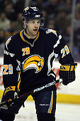February 17th 2007:  Jason Pominville (29) of the Buffalo Sabres looks for the puck vs. the Boston Bruins at HSBC Arena in Buffalo, NY.  The Bruins defeated the Sabres 4-3 in a shootout.