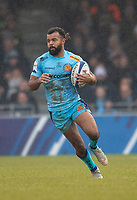 Exeter Chiefs' Tom O'Flaherty<br /> <br /> Photographer Bob Bradford/CameraSport<br /> <br /> European Rugby Heineken Champions Cup Pool 2 - Exeter Chiefs v Castres - Sunday 13th January 2019 - Sandy Park - Exeter<br /> <br /> World Copyright © 2019 CameraSport. All rights reserved. 43 Linden Ave. Countesthorpe. Leicester. England. LE8 5PG - Tel: +44 (0) 116 277 4147 - admin@camerasport.com - www.camerasport.com