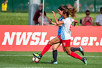 Kansas City, MO - Saturday September 9, 2017: Sydney Miramontez, Casey Short during a regular season National Women's Soccer League (NWSL) match between FC Kansas City and the Chicago Red Stars at Children's Mercy Victory Field.